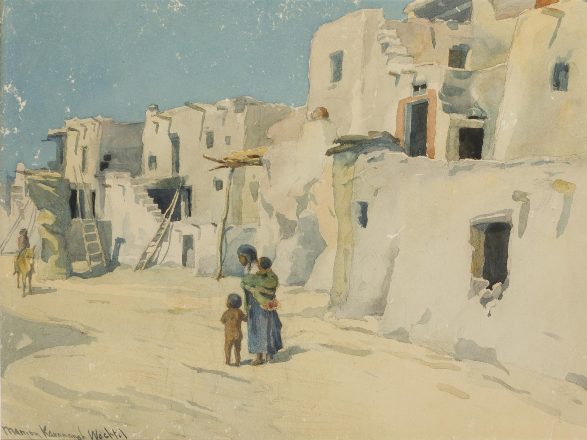 "Marion Kavanagh Wachtel, (1870-1954 Pasadena, CA), ""Street in Walpi"", Watercolor on paper under glass, Sight: 12"" H x 15.5"" W"