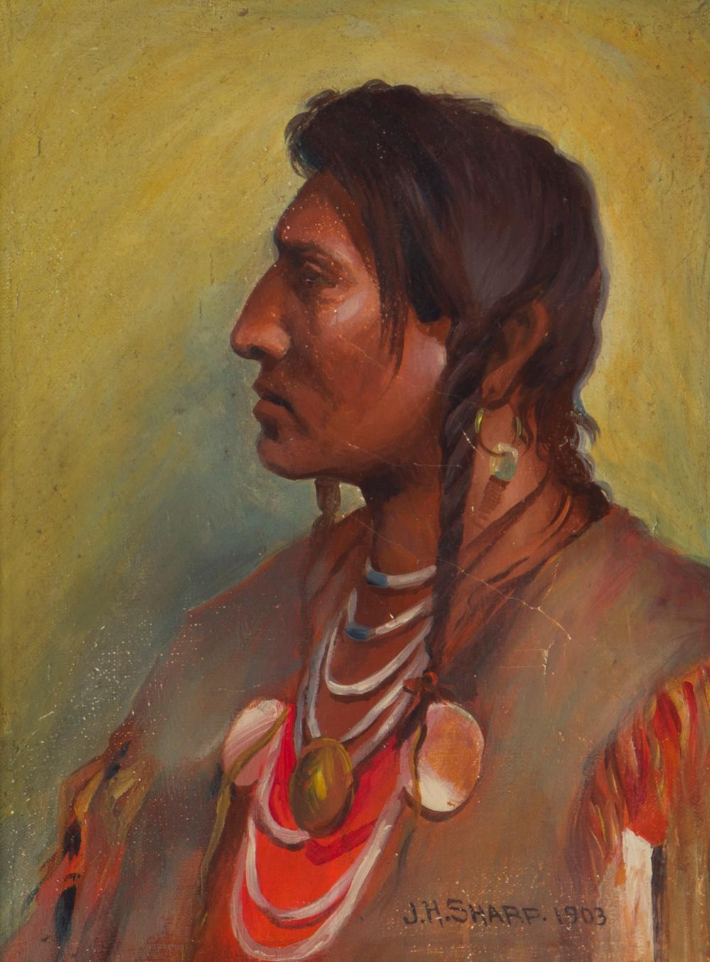 """Joseph Henry Sharp, (1859-1953 Pasadena, CA), Sioux Indian in profile, 1903, Oil on canvas, 12.5"""" H x 9.25"""" W"""