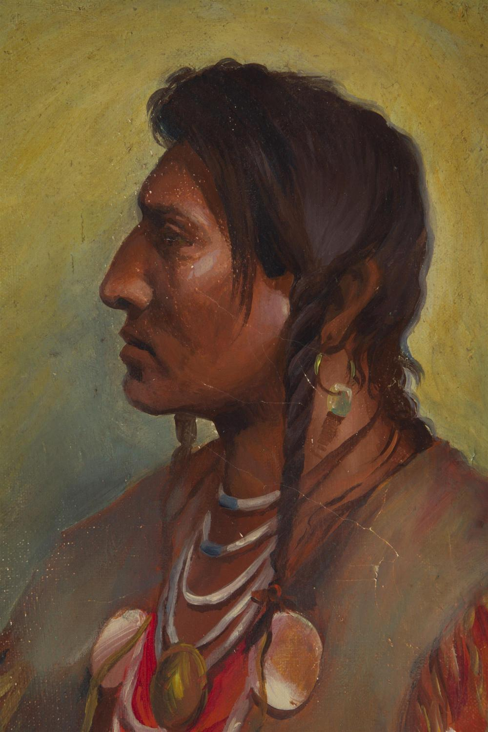 Joseph Henry Sharp, (1859-1953 Pasadena, CA), Sioux Indian in profile, 1903, Oil on canvas, 12.5