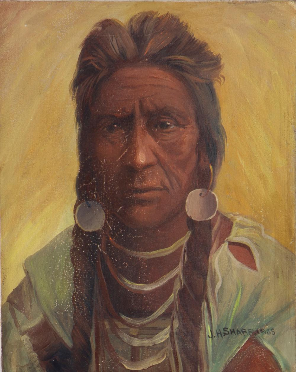 """Joseph Henry Sharp, (1859-1953 Pasadena, CA), Portrait of a Sioux Indian, 1904, Oil on canvas, 10"""" H x 8"""" W"""