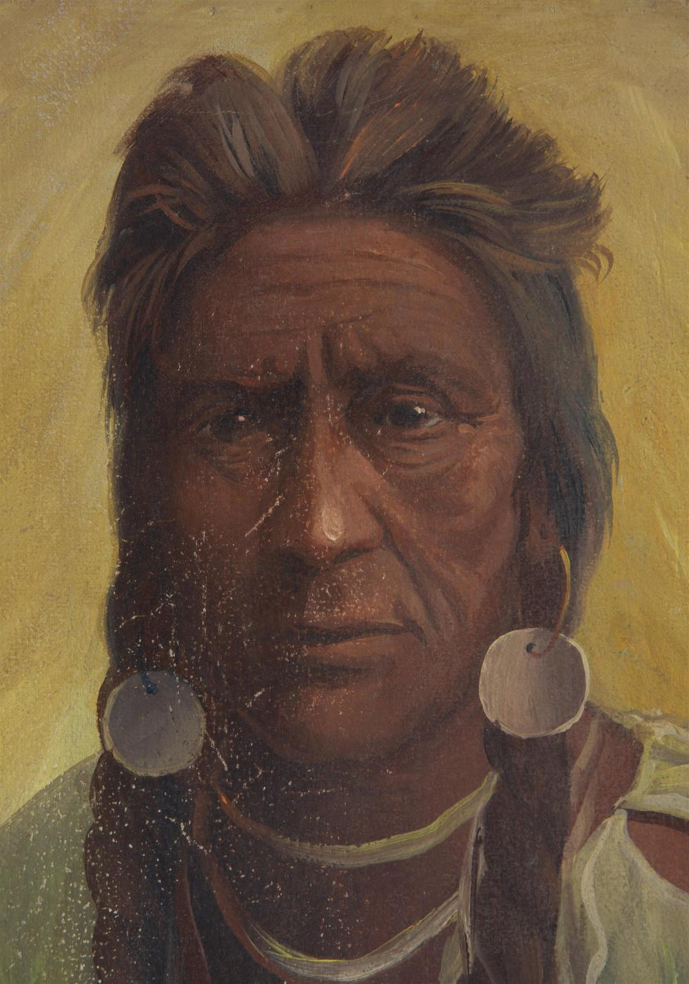 Joseph Henry Sharp, (1859-1953 Pasadena, CA), Portrait of a Sioux Indian, 1904, Oil on canvas, 10