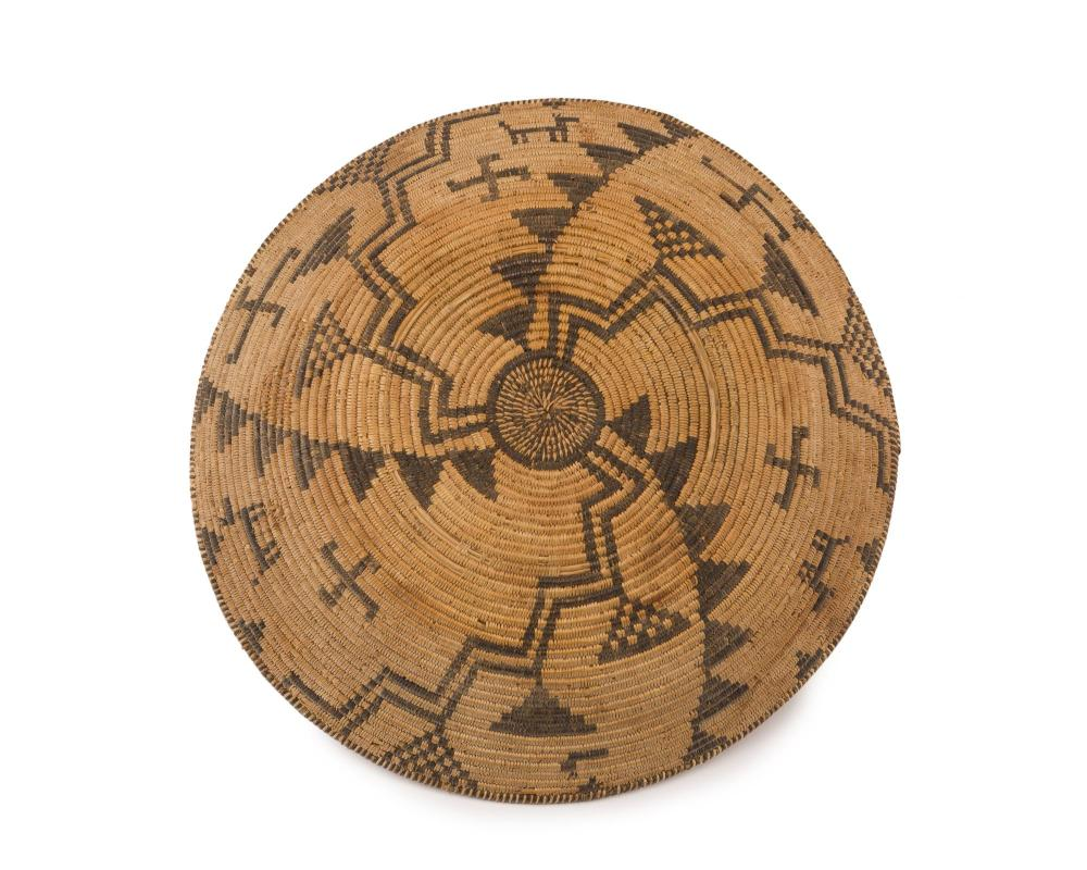 An Apache pictorial basketry tray