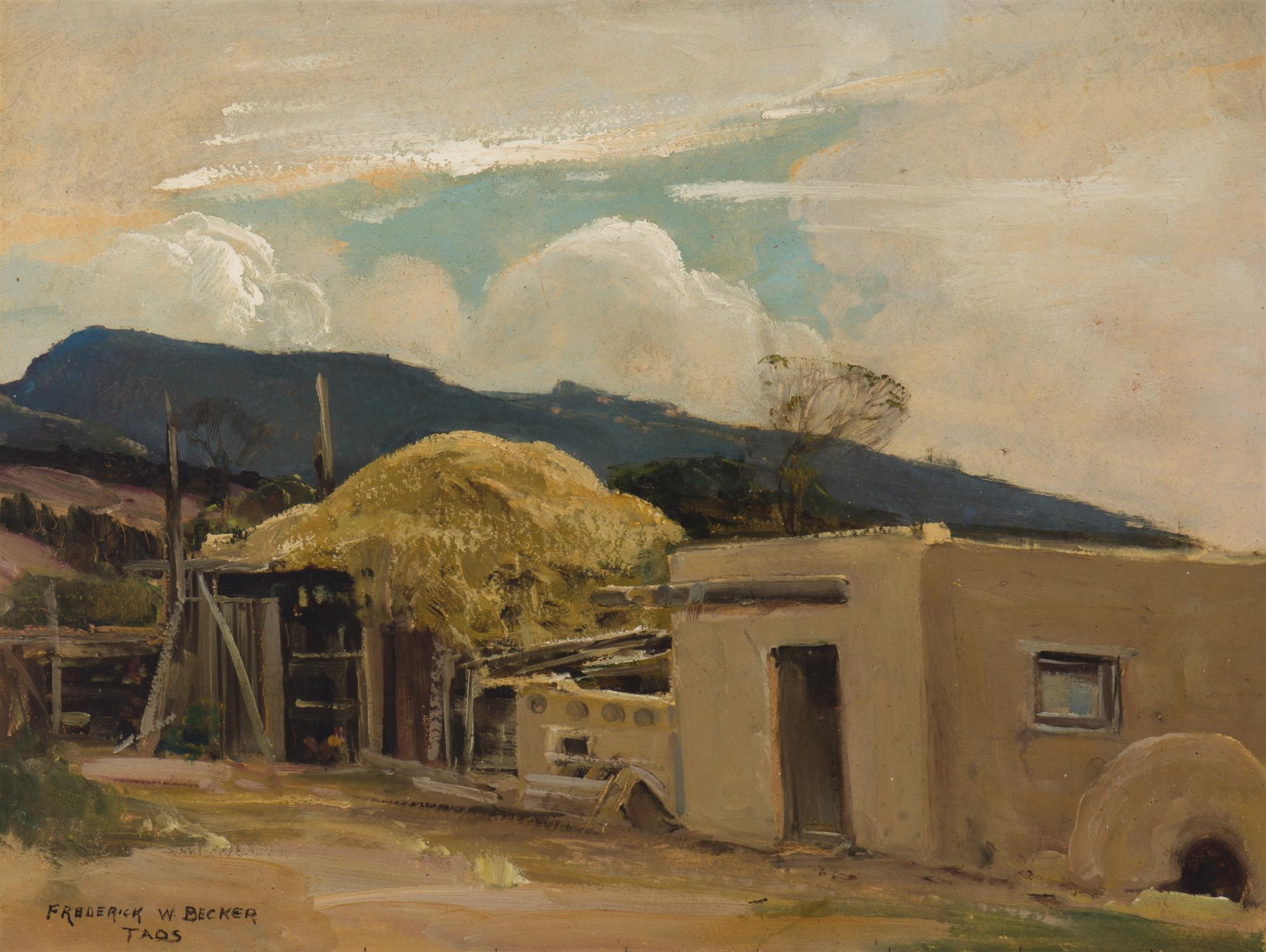 "Frederick William Becker, (1888-1974 Palm Springs, CA), ""Taos"", Oil on paper laid to canvas, 15.25"" H x 20.25"" W"
