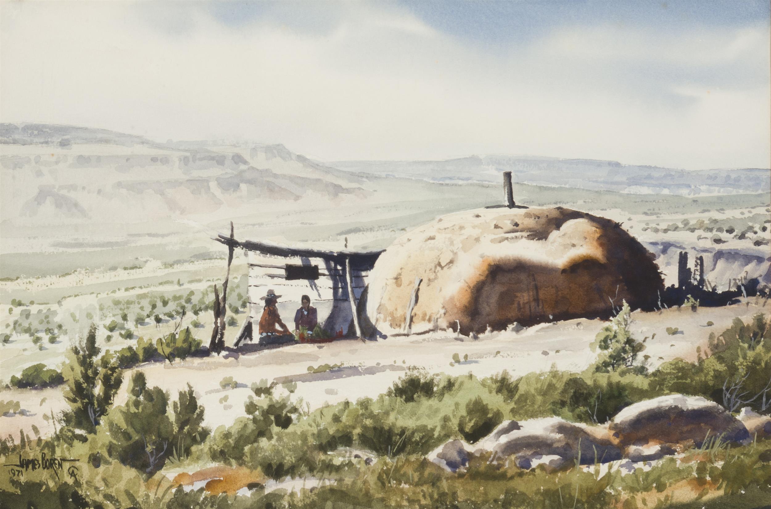 "James Erwin Boren, (1921-1990 Clifton, TX), ""Hogan,"" 1971, Watercolor on paper under glass, Sight: 14.5"" H x 21.5"" W"