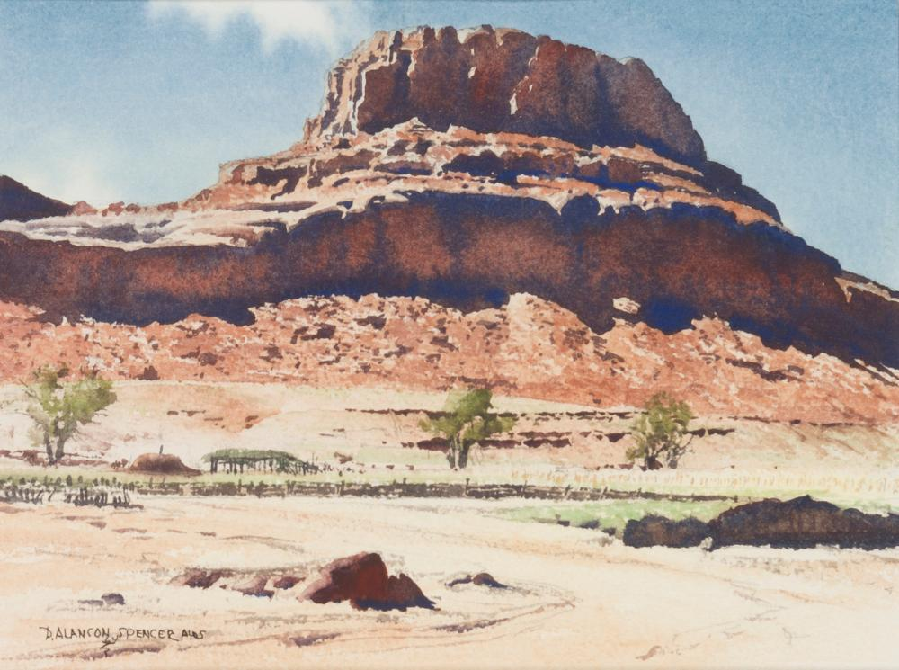 "Duncan Alanson Spencer, (1911-1999 Mariposa, CA), ""Near Monument Valley"", Watercolor on paper under glass, Sight: 7"" H x 9.25"" W"