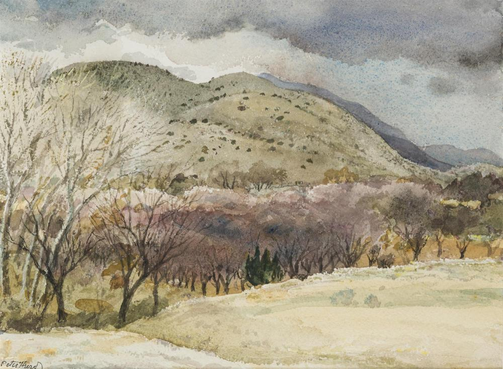 """Peter Hurd, (1904-1984 Roswell, NM), """"Storm in Early Spring"""", Watercolor on paper under glass, Sight: 8.75"""" H x 11.75"""" W"""