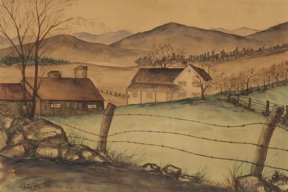 """Peter Hurd, (1904-1984 Roswell, NM), Landscape with barbed wire fence and barn, Watercolor on paper under Plexiglas, Sight: 14"""" H x 21"""""""