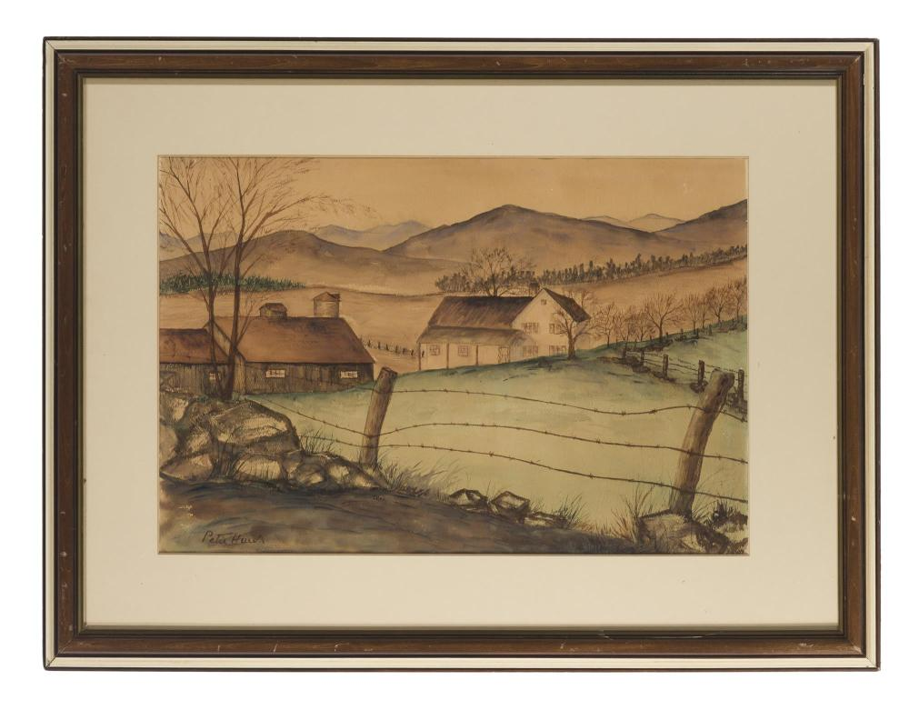 Peter Hurd, (1904-1984 Roswell, NM), Landscape with barbed wire fence and barn, Watercolor on paper under Plexiglas, Sight: 14