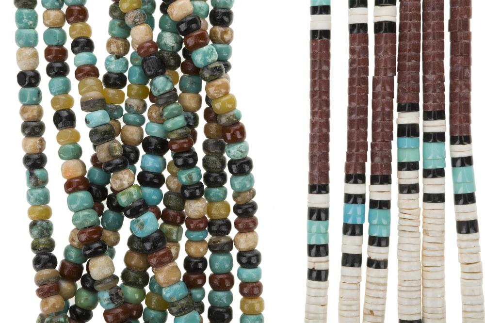 Five American Indian beaded necklaces