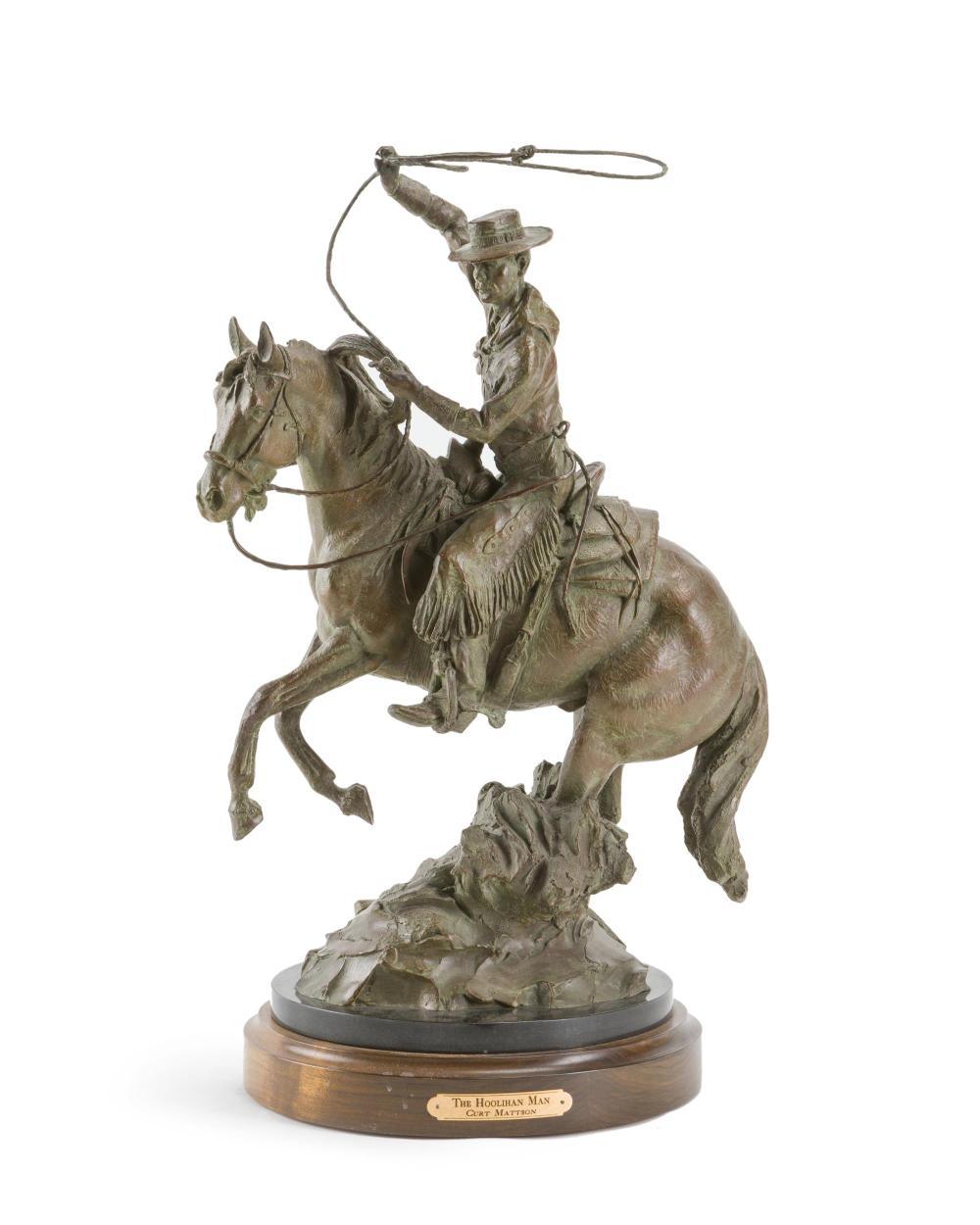 "Curt Mattson, (b. 1956 Arizona), ""The Hoolihan Man,"" 2006, Patinated bronze on wood and black granite rotating plinth, 20.75"" H x 14"" W"