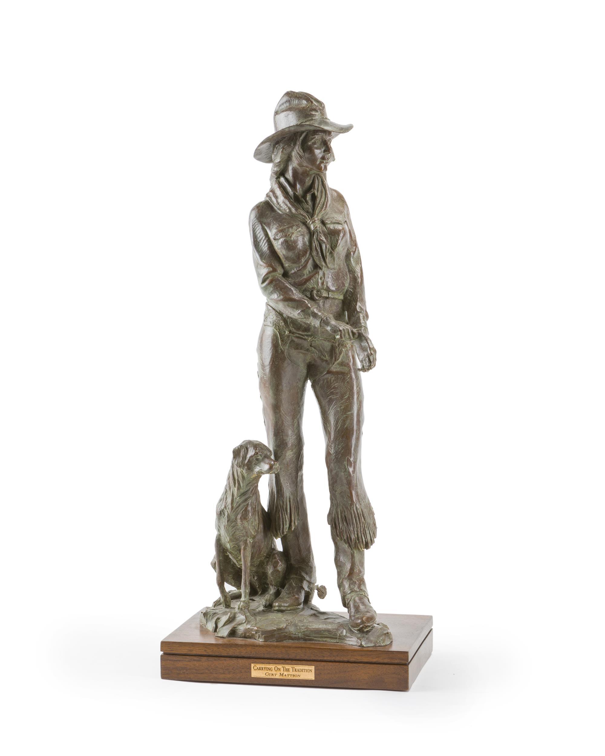 "Curt Mattson, (b. 1956 Arizona), ""Carrying on the Tradition,"" 1992, Patinated bronze on rotating wood plinth, 25.25"" H x 9"" W x 7"" D"