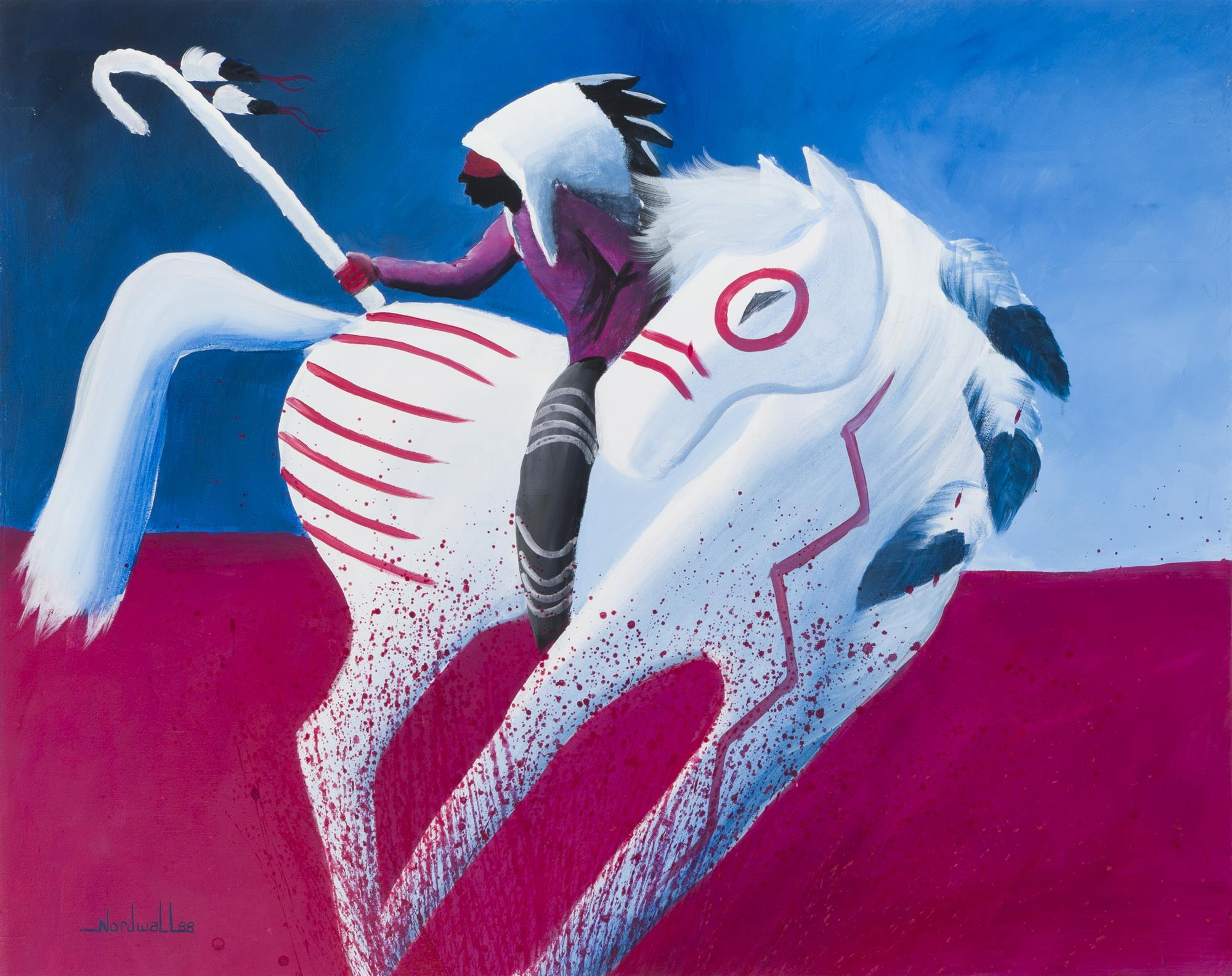 "Raymond Nordwall, (b. 1965 Santa Fe, NM), Rider on a white horse, 1988, Oil on canvas, 40"" H x 49.75"" W"