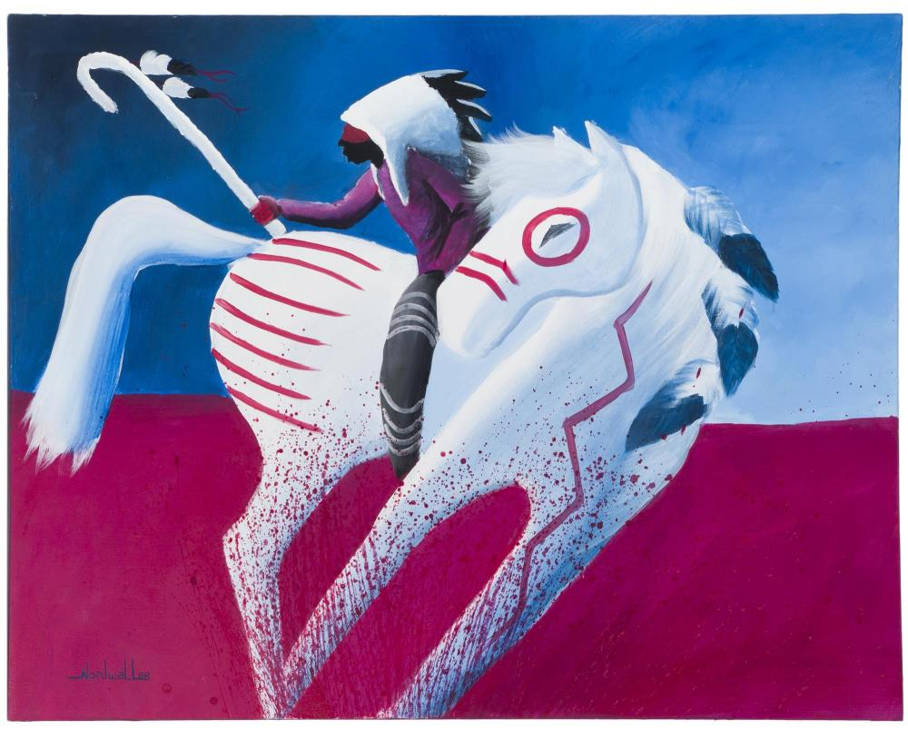 Raymond Nordwall, (b. 1965 Santa Fe, NM), Rider on a white horse, 1988, Oil on canvas, 40
