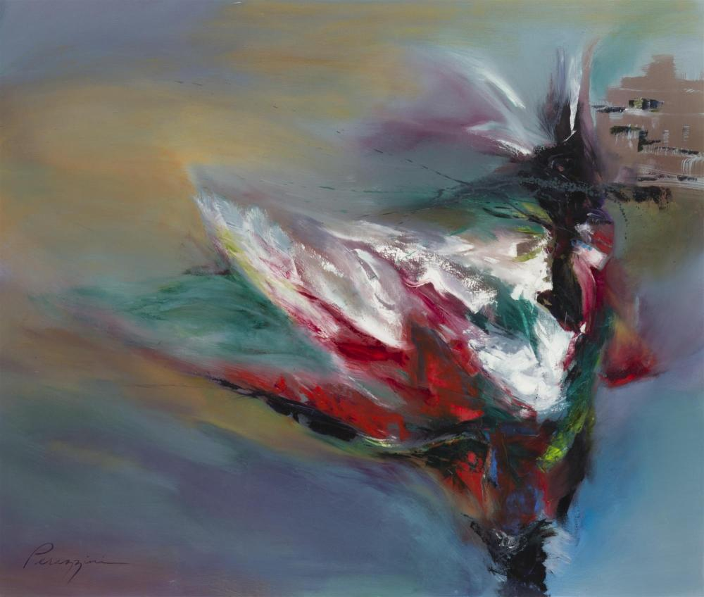 """Gail Perazzini, (20th Century American), Abstract swirling dancer, Acrylic on canvas, 44"""" H x 52"""" W"""