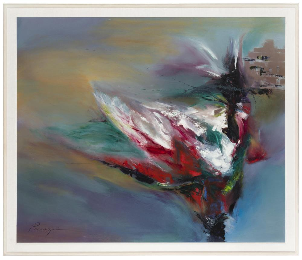 Gail Perazzini, (20th Century American), Abstract swirling dancer, Acrylic on canvas, 44