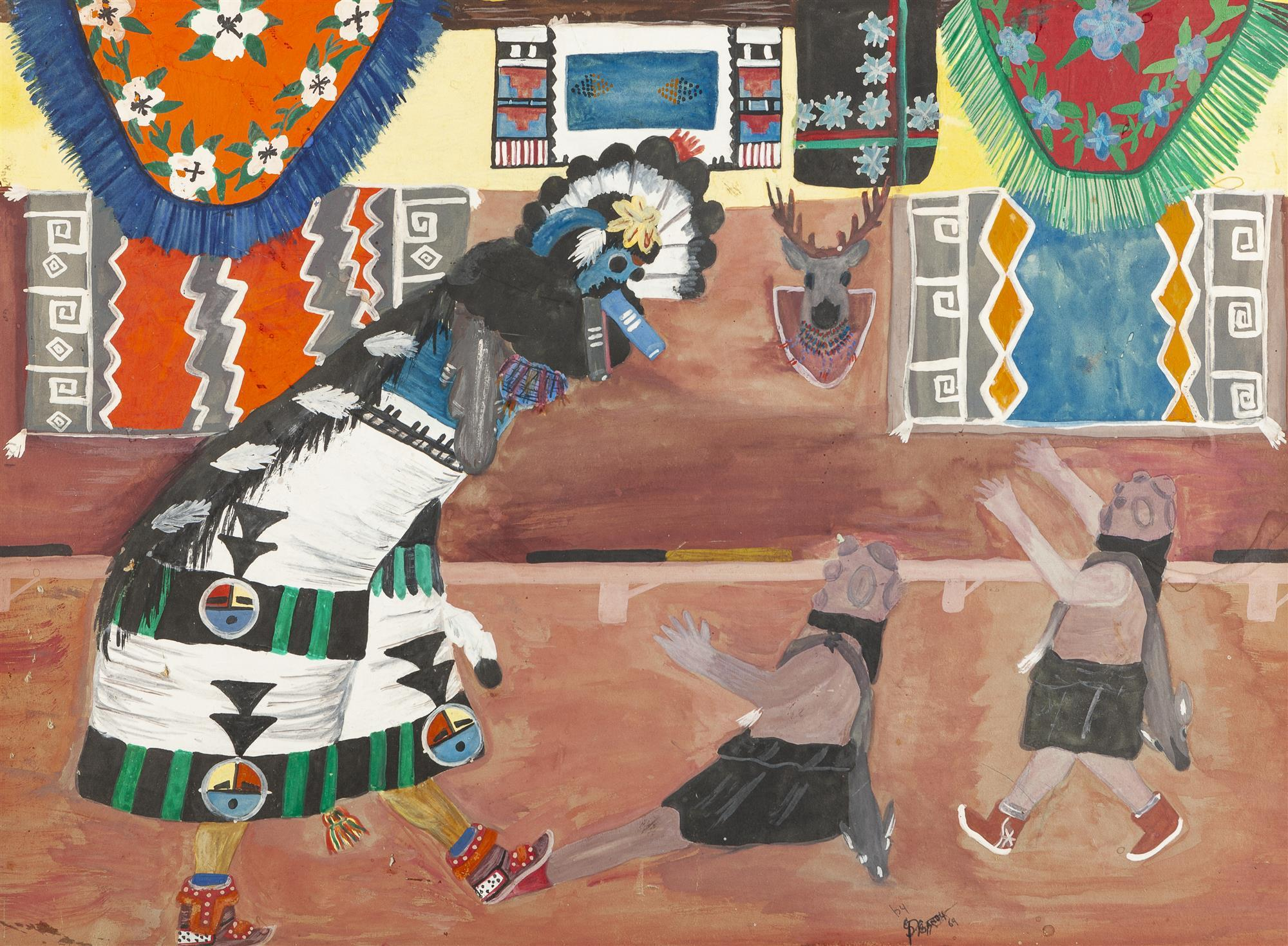 "Percy Sandy, (1918-1974 Taos, NM), Dance ceremony, 1969, Gouache on board under glass, Sight: 15.25"" H x 21"" W"