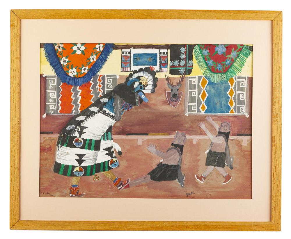 Percy Sandy, (1918-1974 Taos, NM), Dance ceremony, 1969, Gouache on board under glass, Sight: 15.25