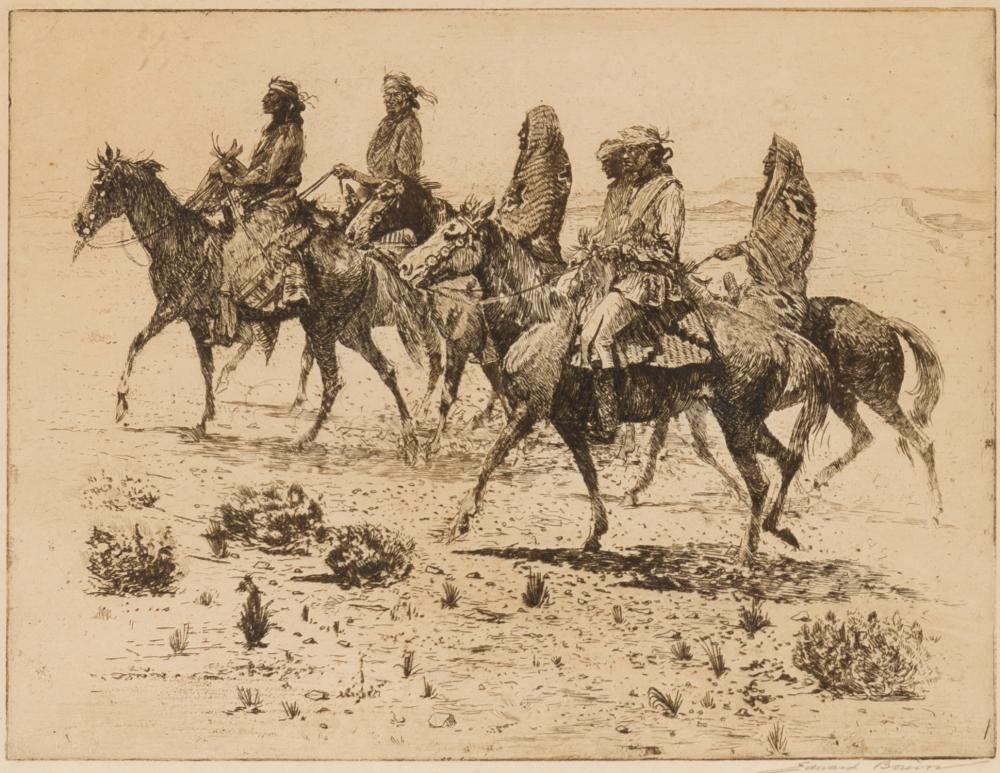 """Edward Borein, (1872-1945 Santa Barbara, CA), """"Navajos"""", Etching and drypoint on paper under glass, Plate: 9.25"""" H x 12"""" W"""