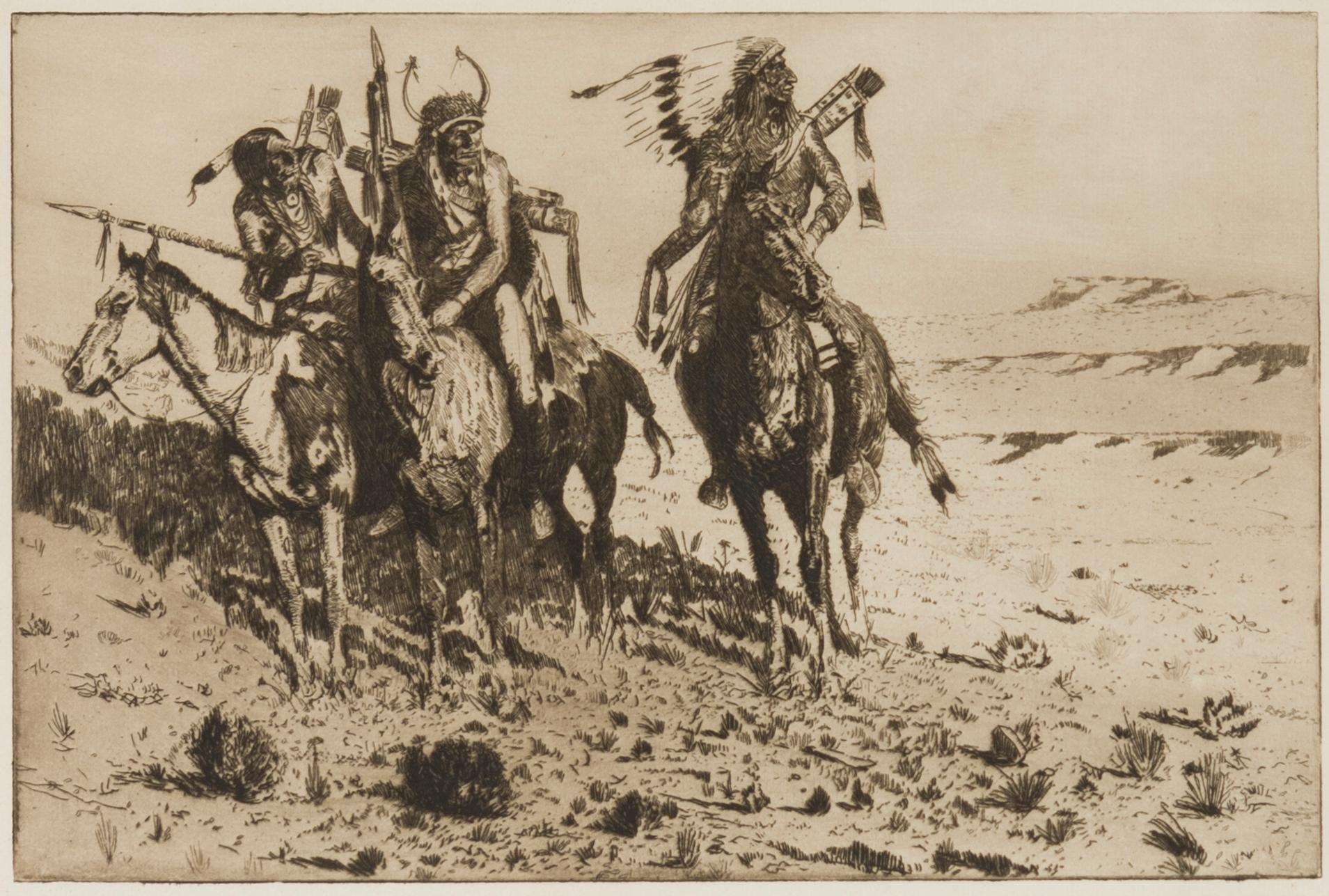 "Edward Borein, (1872-1945 Santa Barbara, CA), ""Sioux Chief"", Etching and drypoint on paper under glass, Plate: 8"" H x 12"" W"