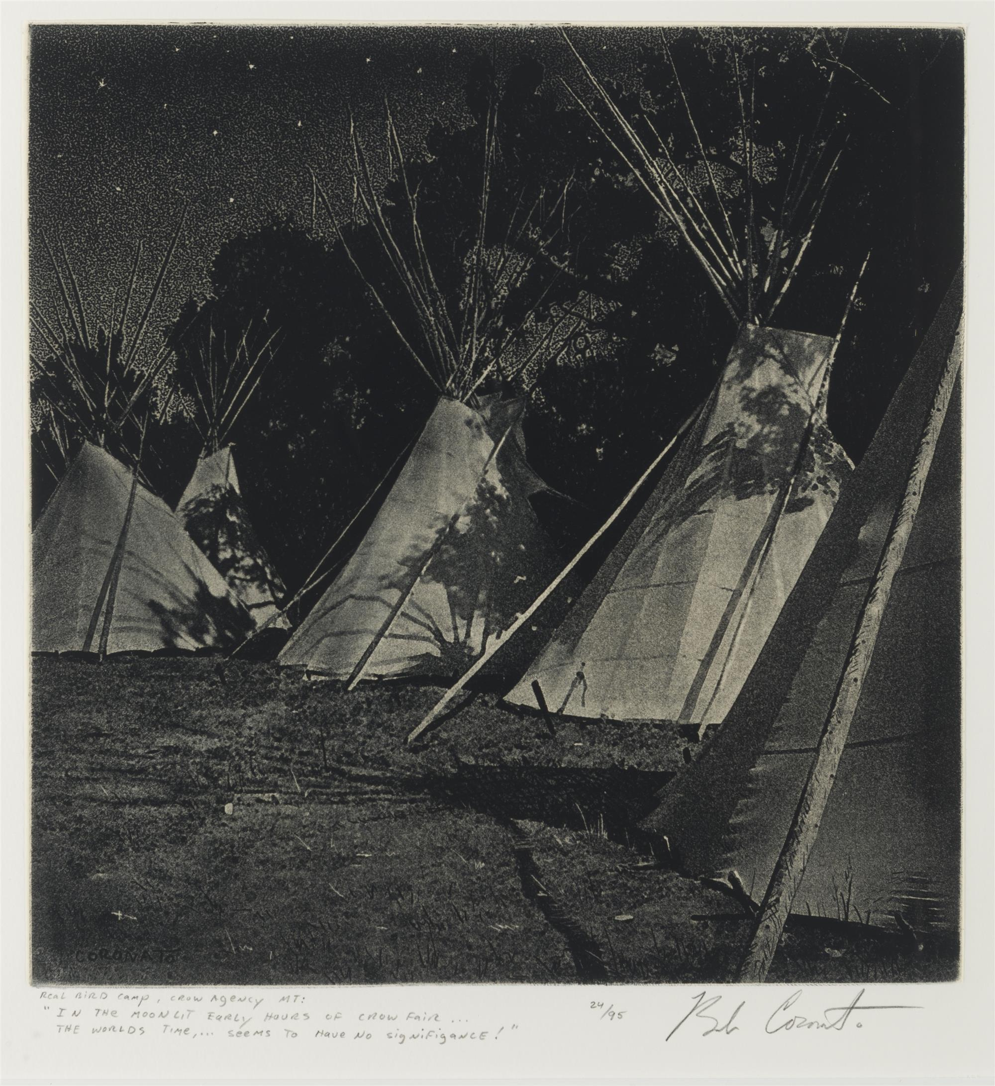 "Bob Coronato, (b. 1970 American), ""Real Bird Camp, Crow Agency, MT"", Etching on paper laid to board under glass, Sheet: 10"" H x 9.5"" W"