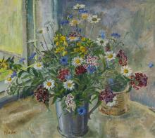 """Mats Mason, (1894 - 1983 Swedish), """"Blommor i Ten Stop (Flowers in the Top Stop)"""", floral still life, Oil on masonite, 22.5"""" H x 25.5"""""""