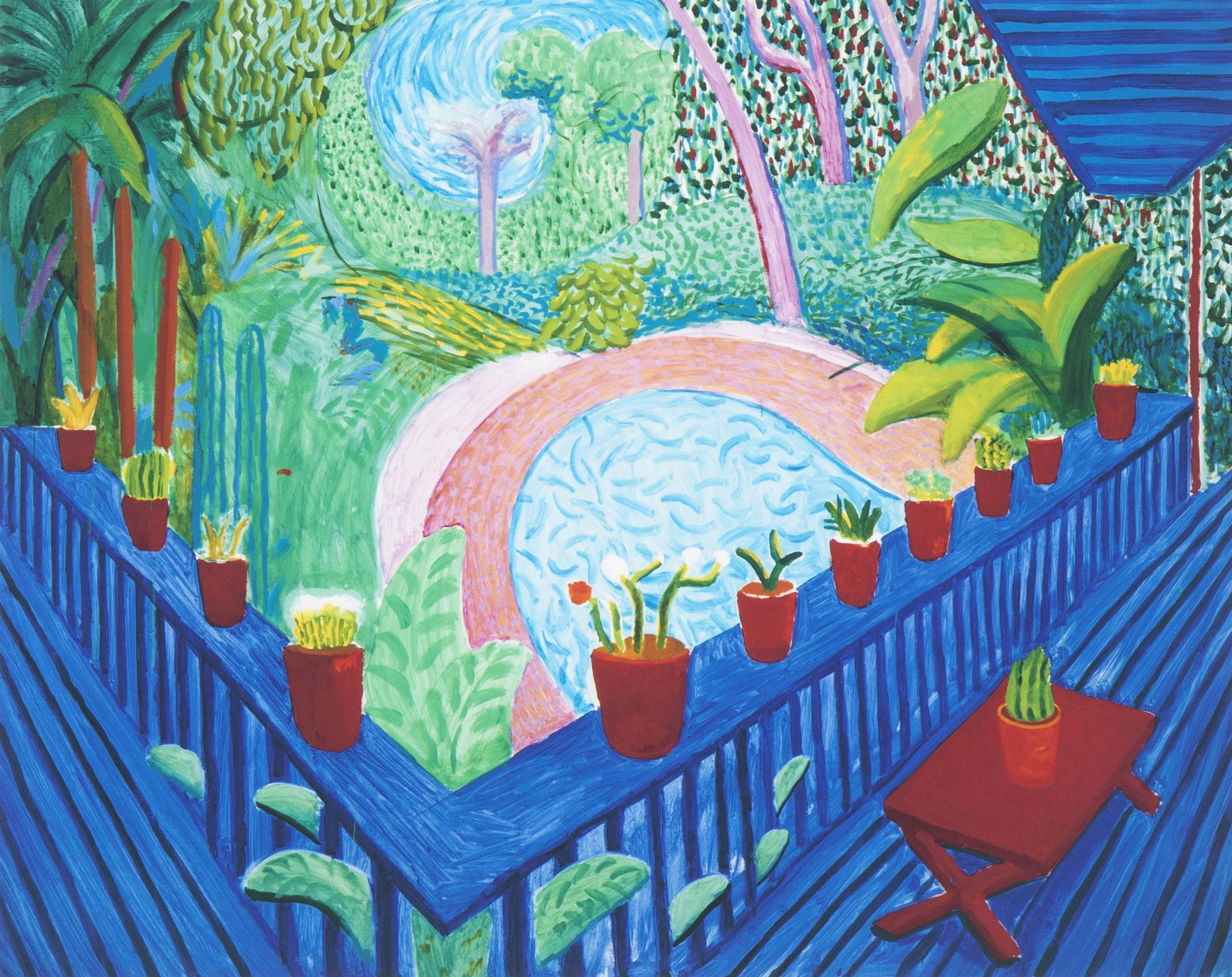 "David Hockney, (b. 1937, British), ""Red Pots in the Garden,"" 2000-2017, Giclee print on Somerset Enhanced cotton rag paper with hand fi"