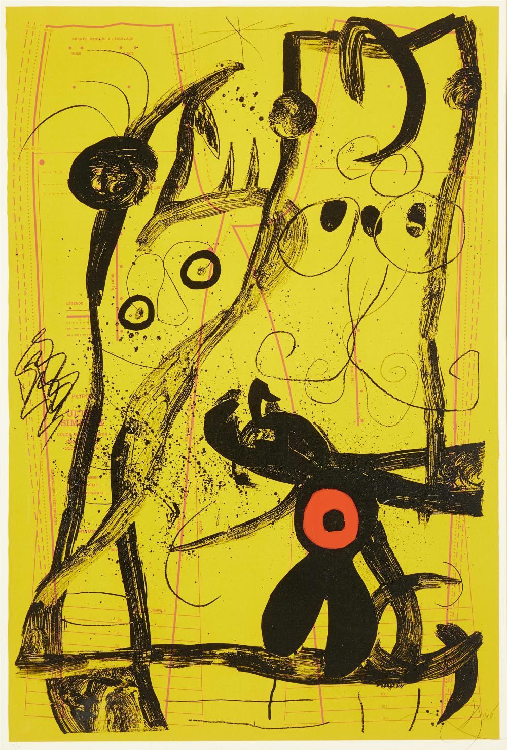 """Joan Miró, (1893-1983, Spanish), """"Delire Du Couturier Jaune"""", Color lithograph on paper under Plexiglas, Maeght, prntr., Sight: 48.75"""""""