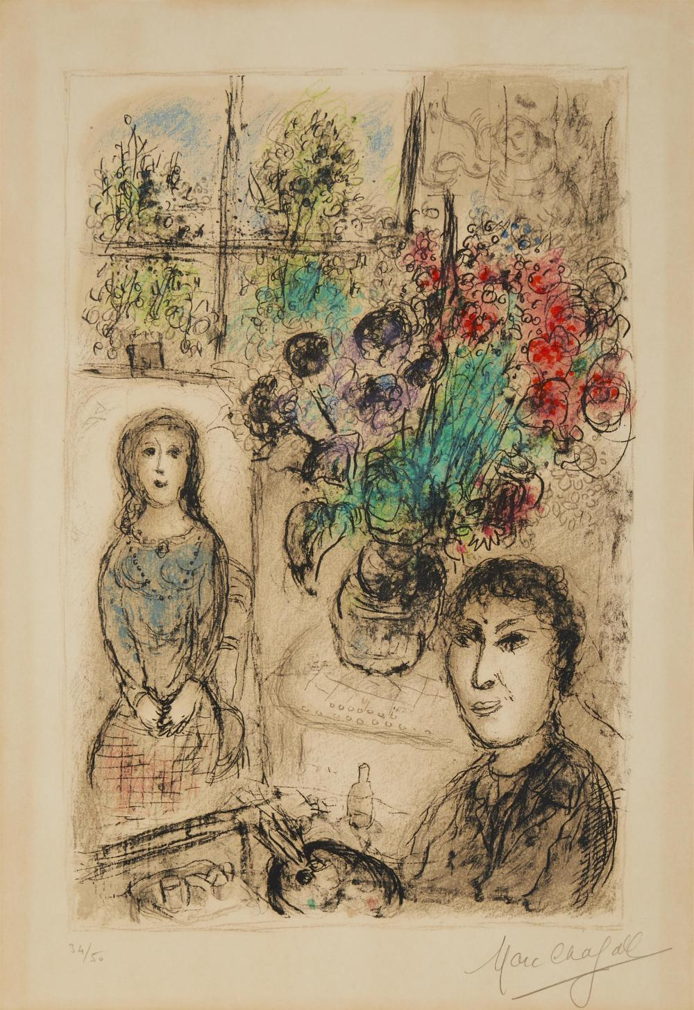 """Marc Chagall, (1887-1985, French), """"Le Chevalet Aux Fleurs,"""" 1976, Color lithograph on cream wove paper under Plexiglas, with full marg"""
