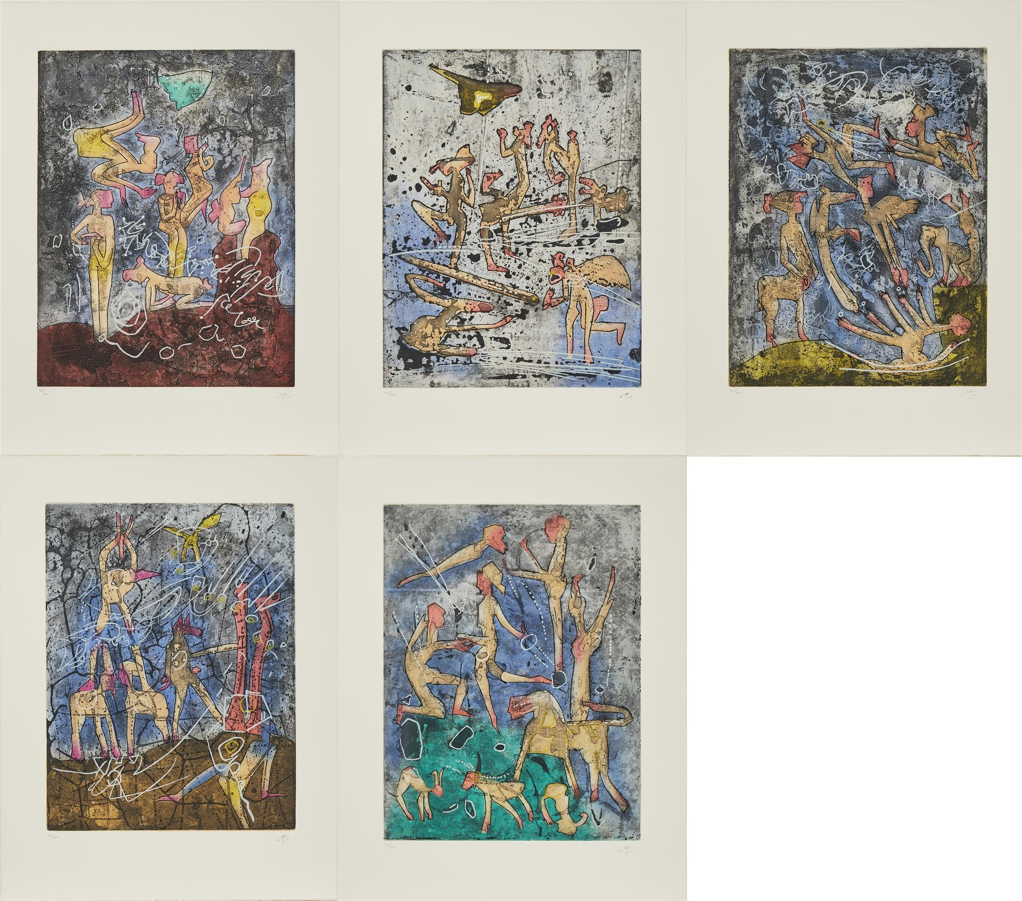 "Roberto Matta, (1911-2002, Chilean), ""L'Ame du Tarot de Théleme,"" 1994, Portfolio of five aquatint etchings on Arches paper, Thomas R."
