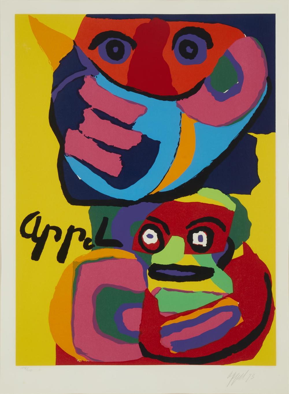 "Karel Christiaan Appel, (1921-2006, Dutch), Composition with faces, 1973, Color serigraph on paper under glass, Sight: 29"" H x 21.25"" W"