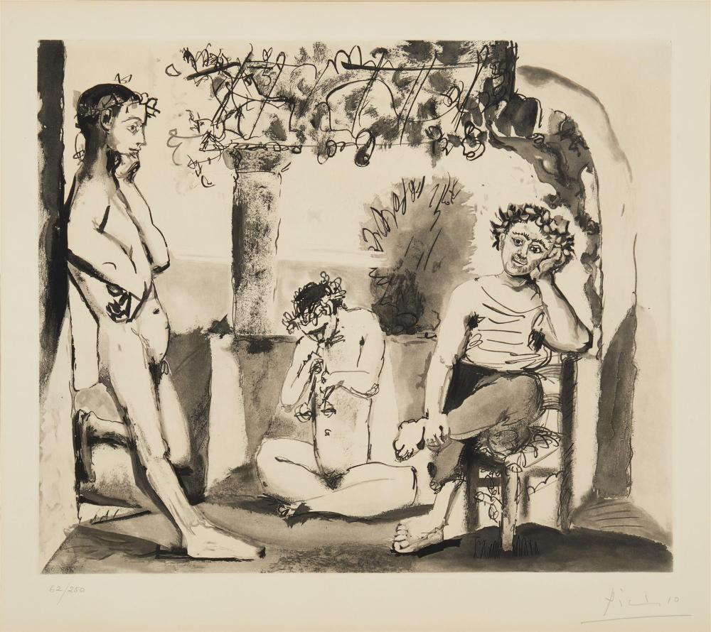 """After Pablo Picasso, (1881-1973, Spanish), """"Bacchanale"""", Etching and aquatint on paper under glass, Sight: 22"""" H x 24.75"""" W; Sheet: 22."""