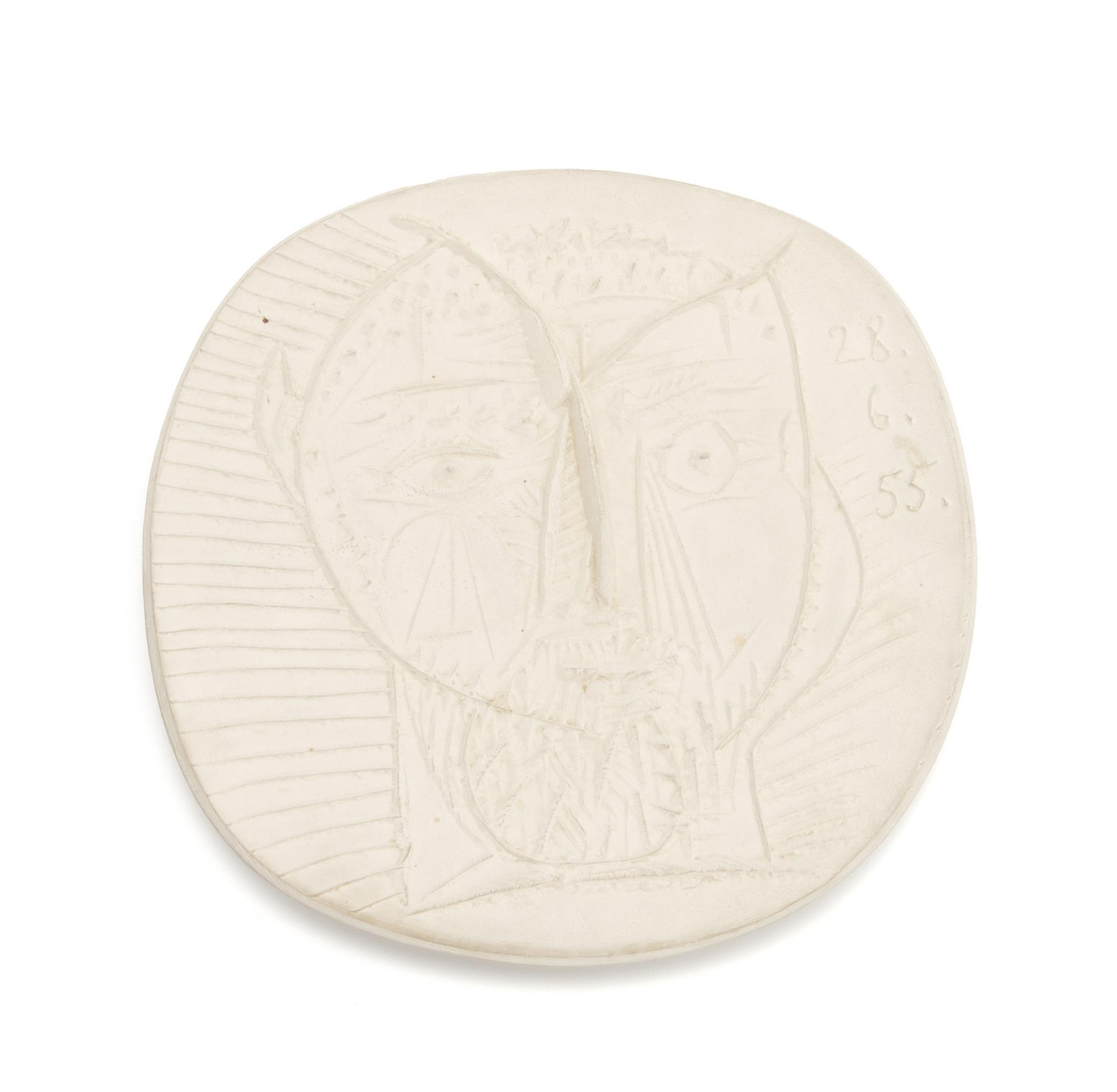 "Pablo Picasso, (1881-1973, Spanish), ""Faun's Head,"" 1955, White earthenware clay, 1"" H x 10"" W x 10"" D"