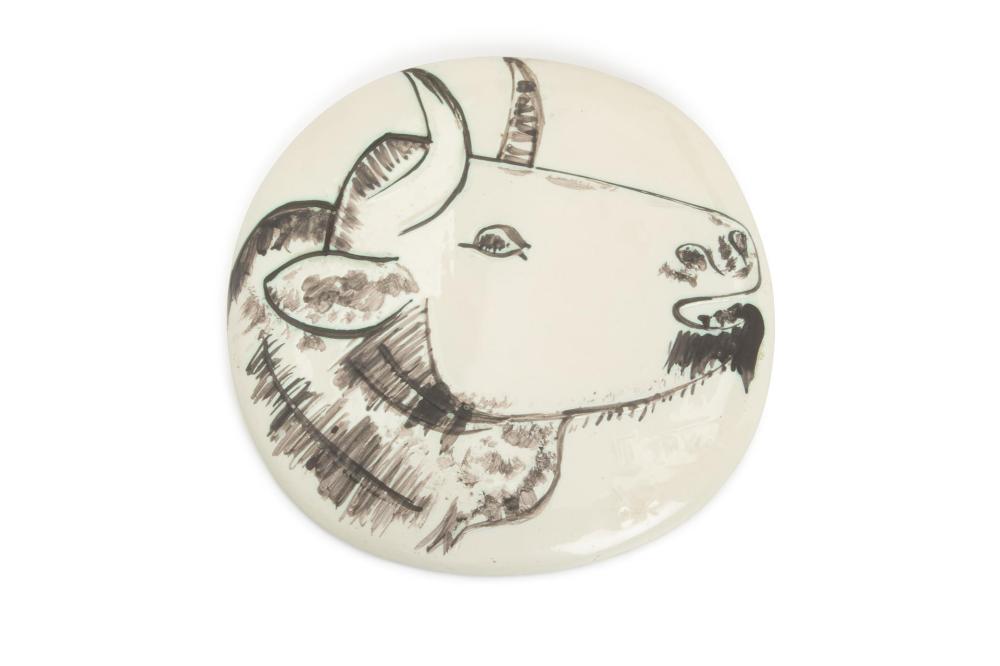 """Pablo Picasso, (1881-1973, Spanish), Bull Profile wall plaque, Ceramic, 9.625"""" H x 9.75"""" W"""