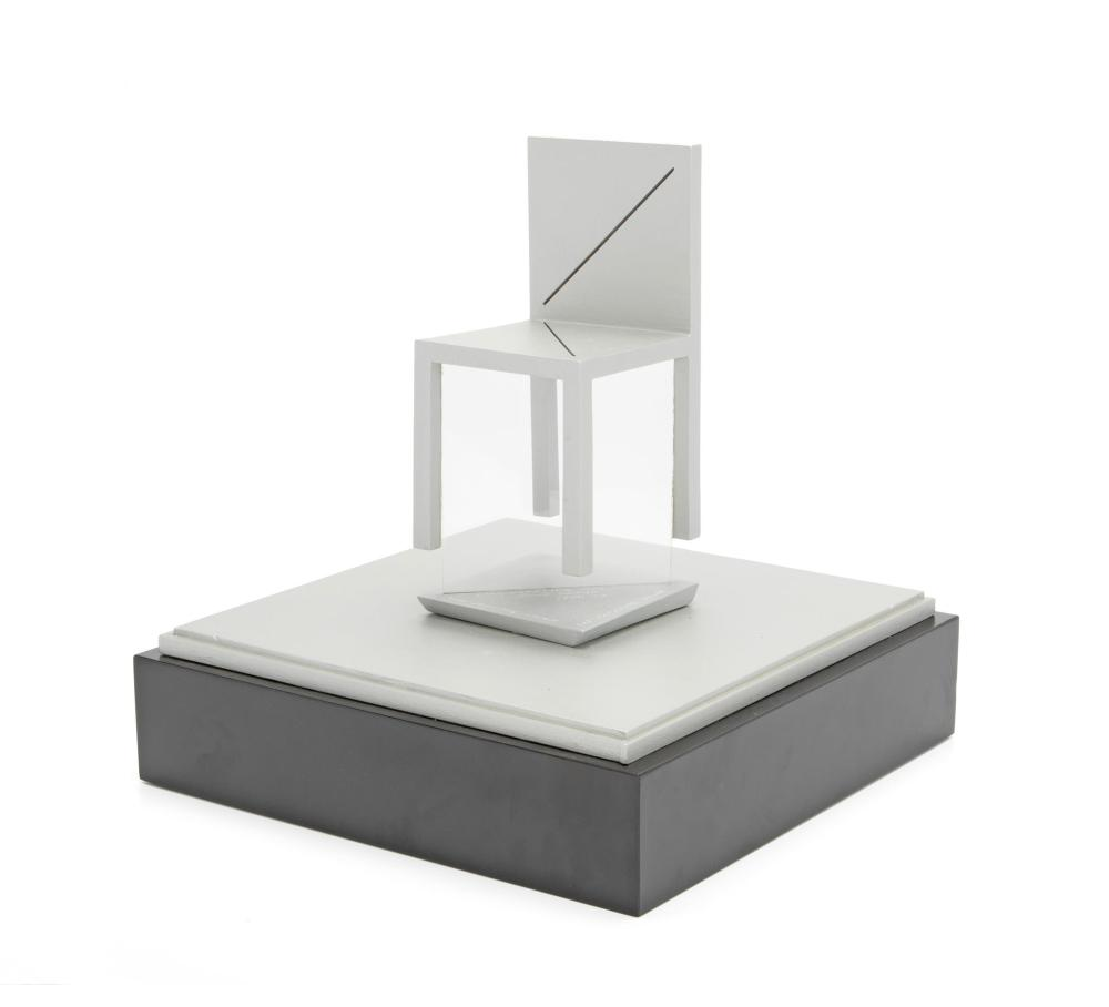 "Tony DeLap, (1927-2019, American), ""The Floating Chair,"" 1974-78, Sculpture in acrylic display box, Overall: 17.5"" H x 14"" W x 14"" D"