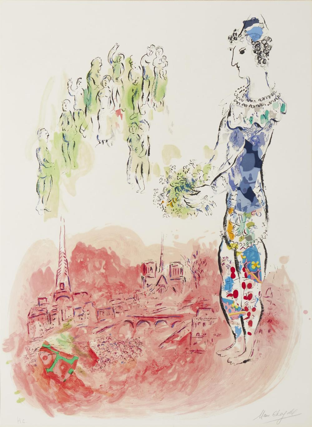 "Marc Chagall, (1887-1985, French), ""The Magician of Paris II,"" 1969-1970, Color lithograph on Arches paper under glass, Sheet: 38"" H x"
