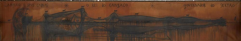 """José Bedia, (b. 1959, Cuban), """"Lampiao e seus Cabras, O Rei do Cangaco, Governador do Sertao,"""" 2002, Mixed media on canvas, 33"""" H x 116"""