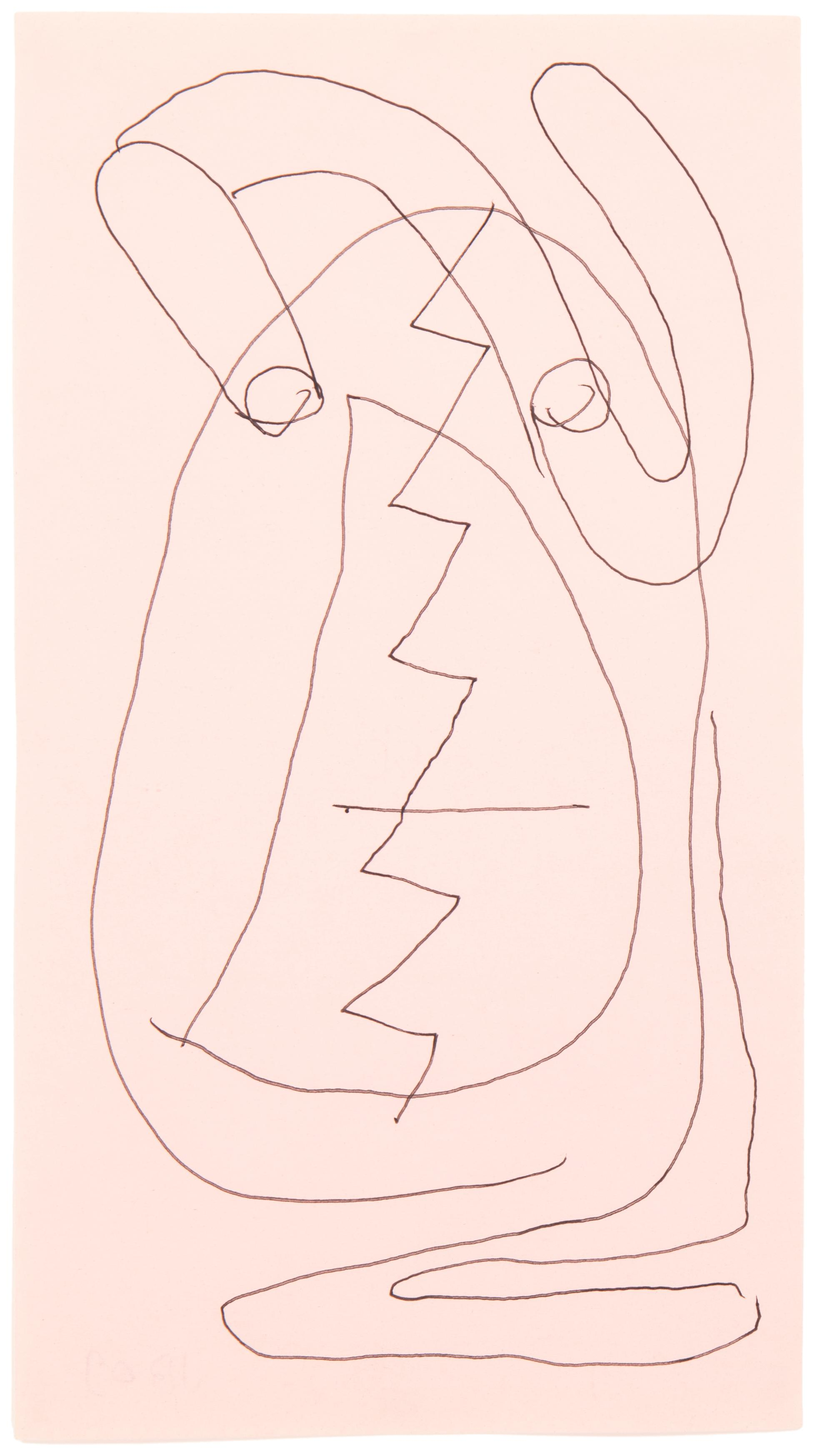 "Joe Bradley, (b. 1975, American), Untitled, 2009, Ink on colored paper under Plexiglas, 8.75"" H x 4.75"" W"