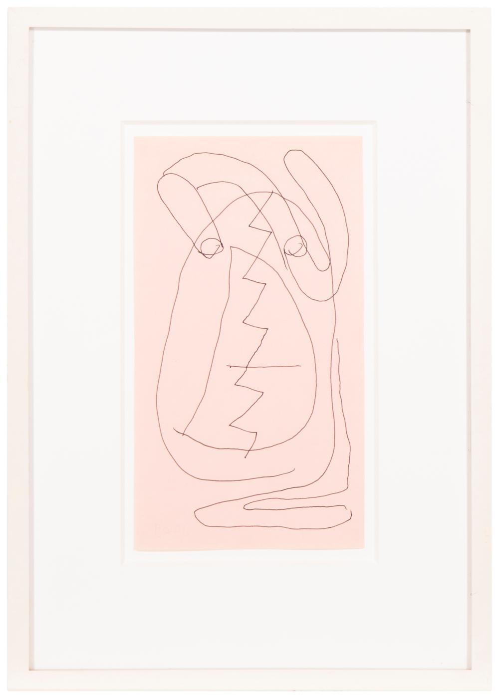 Joe Bradley, (b. 1975, American), Untitled, 2009, Ink on colored paper under Plexiglas, 8.75