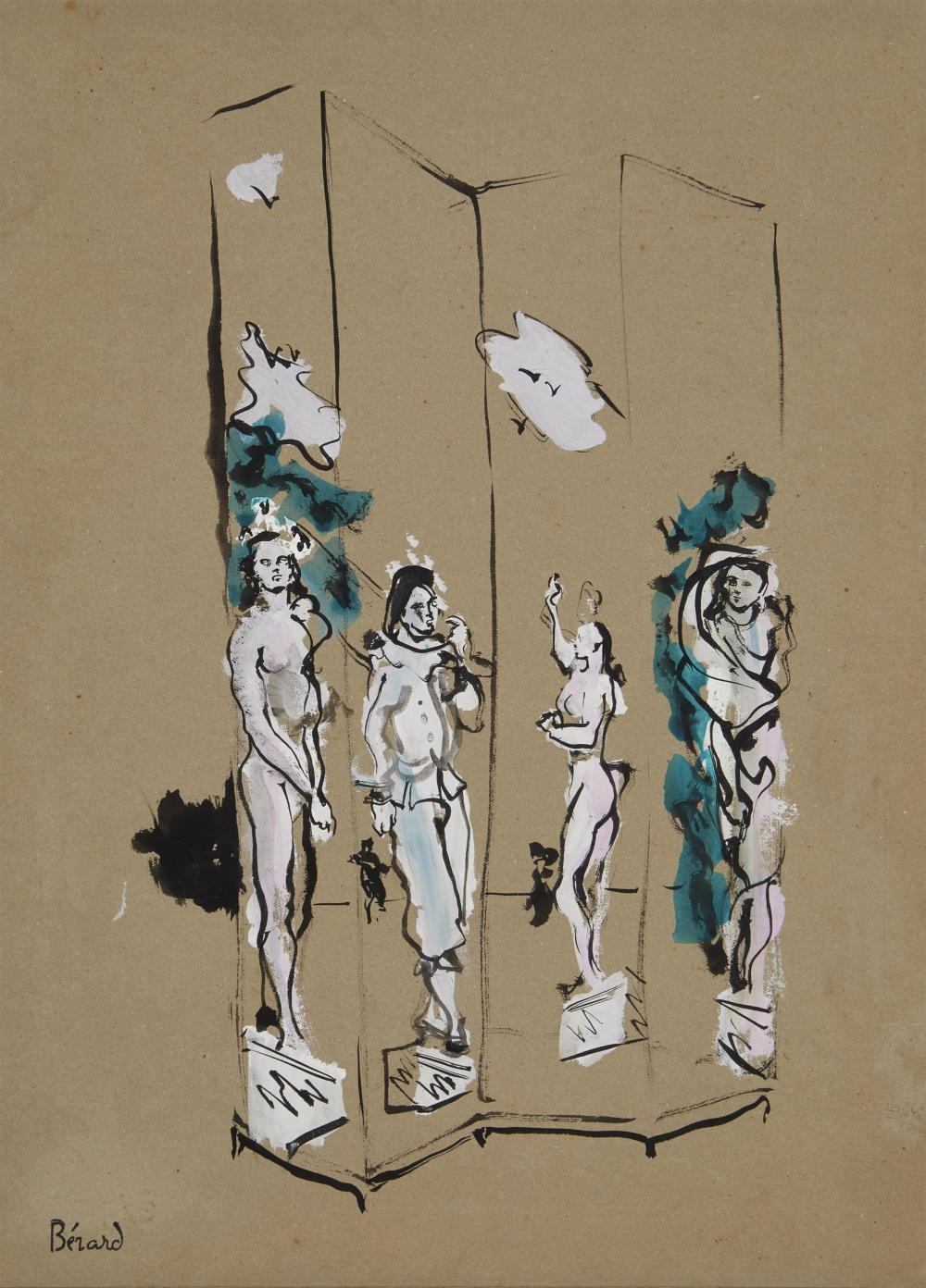 "Christian Bérard, (1902-1949, French), ""Paravent de Ballet"", India Ink and gouache on paper under glass, Sight: 14.25"" H x 10.25"" W; Sh"