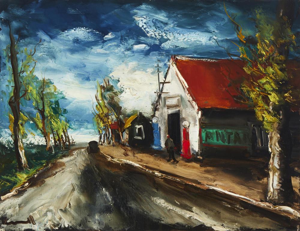 """Maurice De Vlaminck, (1876-1958, French), Paysage a la route, Oil on canvas, 19.75"""" H x 25.5"""" W"""