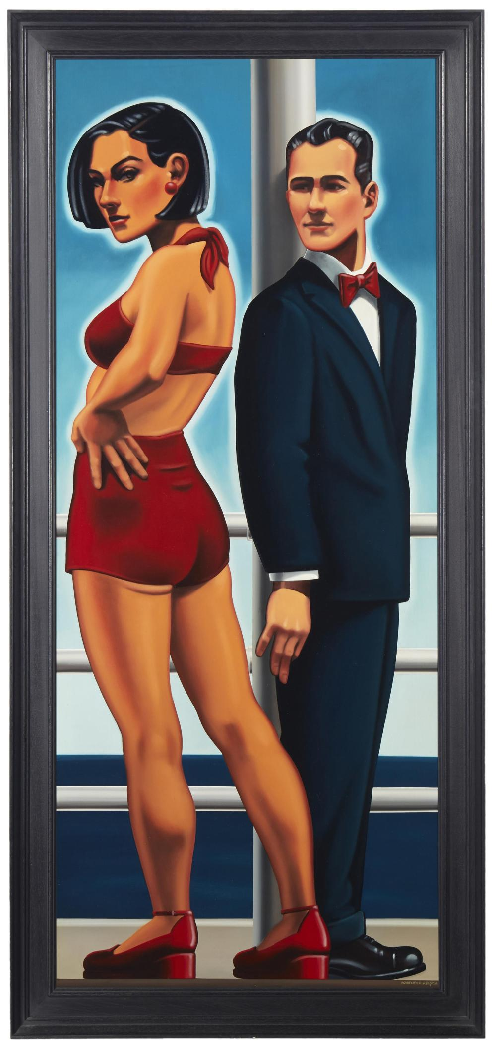 R. Kenton Nelson, (b. 1954, American), Man in a Blue Suit, Oil on canvas, 49