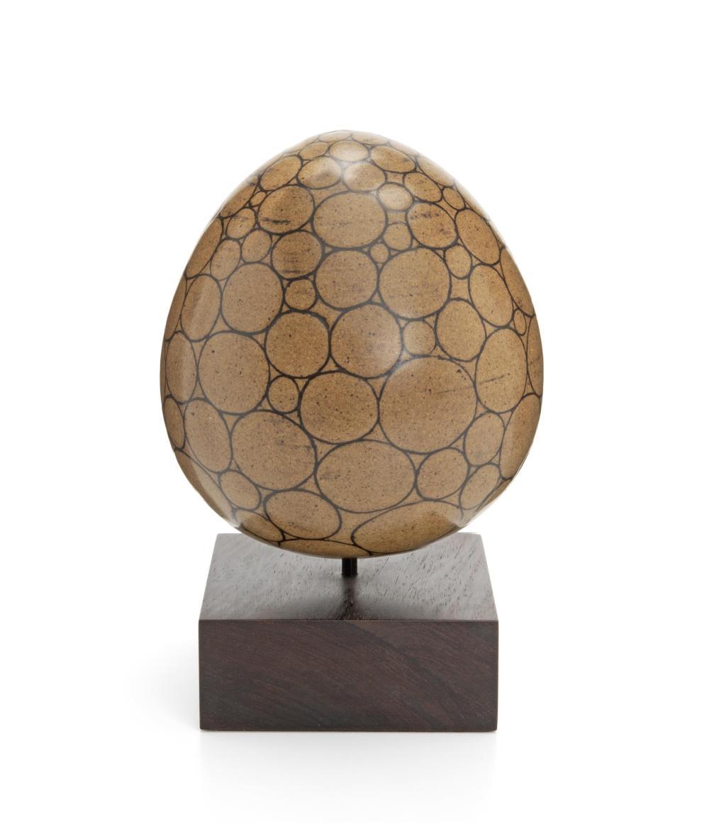 "Harrison McIntosh, (1914-2016, American), Egg, Ceramic with engobe on raised wood base, Overall: 9.25"" H x 5.75"" Dia."