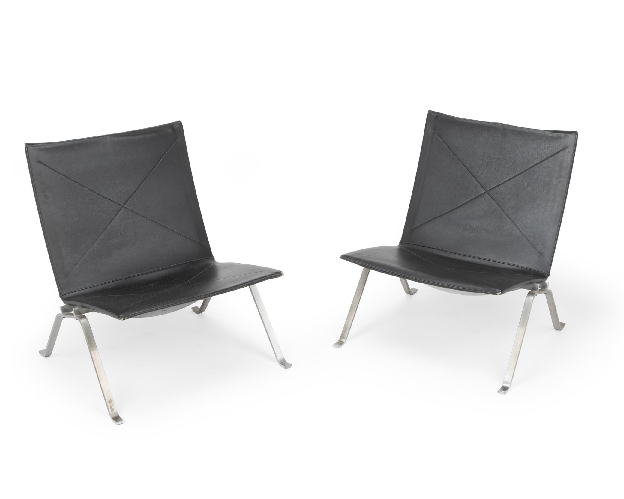 """Poul Kjaerholm, (1929-1980, Danish), A pair of PK22 side chairs, Chromed metal and black leather, Each approximately: 27.5"""" H x 24.5"""" W"""