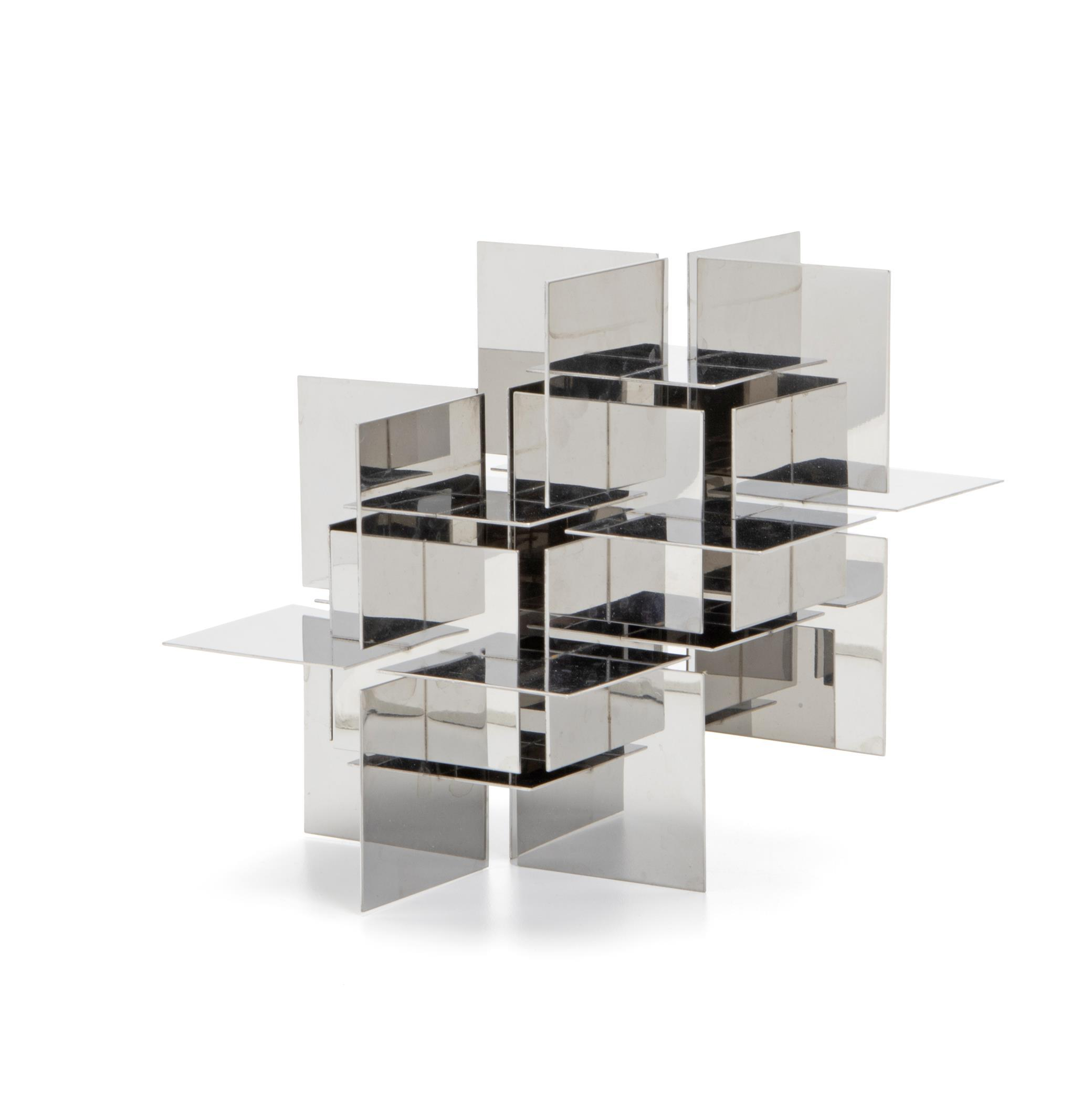 "Francisco Sobrino, (1932-2014, Spanish), Desk-top sculpture, 1970, Chrome-plated steel, 6"" H x 7"" W x 8.75"" D"