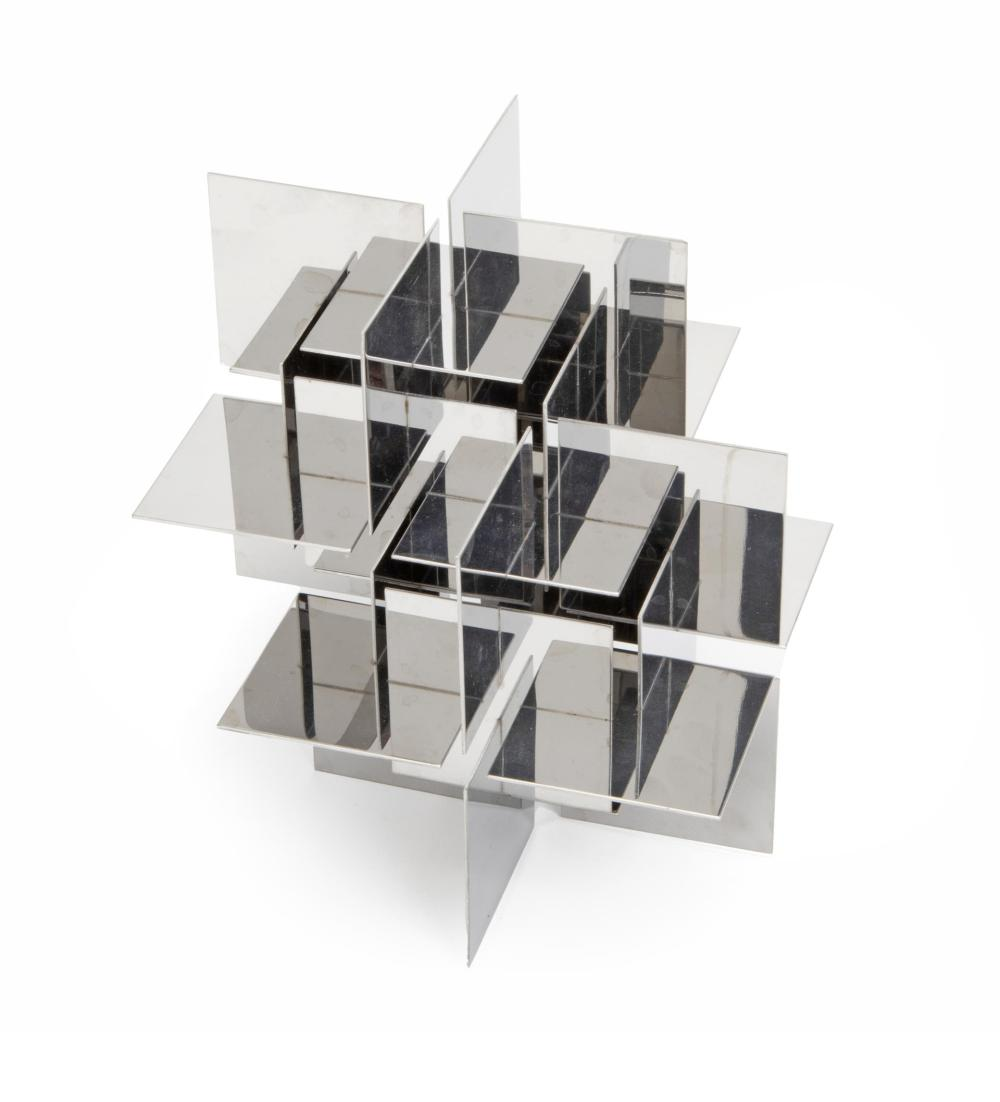 Francisco Sobrino, (1932-2014, Spanish), Desk-top sculpture, 1970, Chrome-plated steel, 6