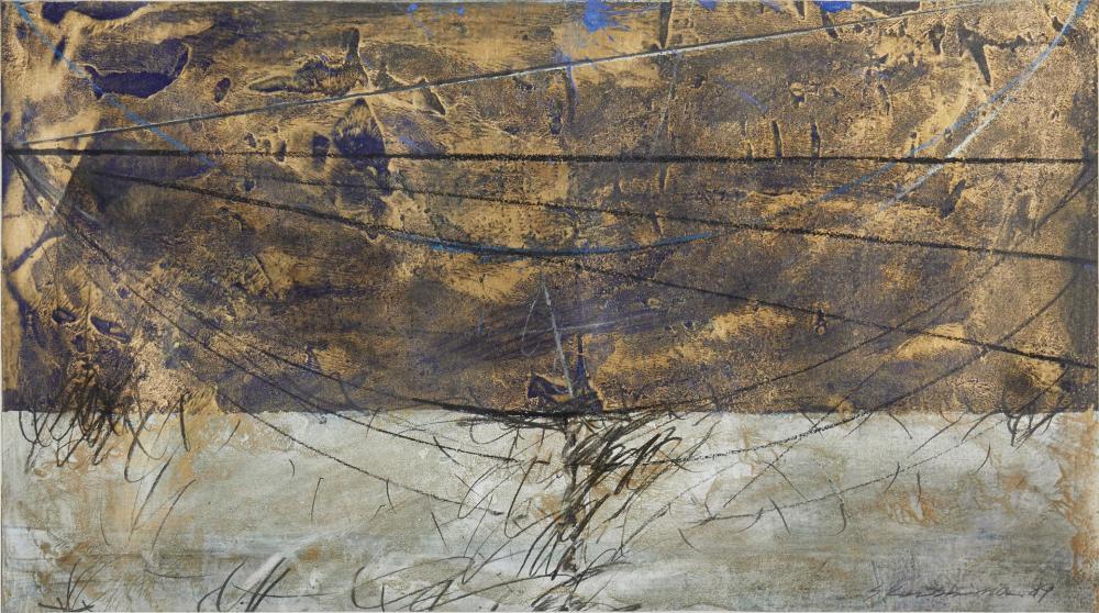"Seiji Kunishima, (b. 1937, Japanese), Untitled abstract, 1989, Mixed media on paper under Plexiglas, 12.25"" H x 22.25"" W"