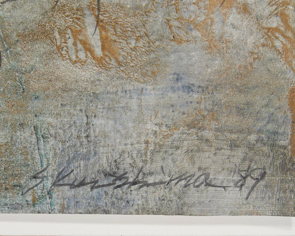 Seiji Kunishima, (b. 1937, Japanese), Untitled abstract, 1989, Mixed media on paper under Plexiglas, 12.25