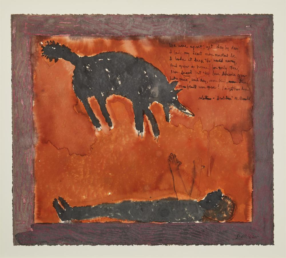 """DeLoss McGraw, (b. 1945, American), """"Isolation,"""" 1980, Colored ink and gouache on paper under Plexiglas, 22.25"""" H x 25"""" W"""