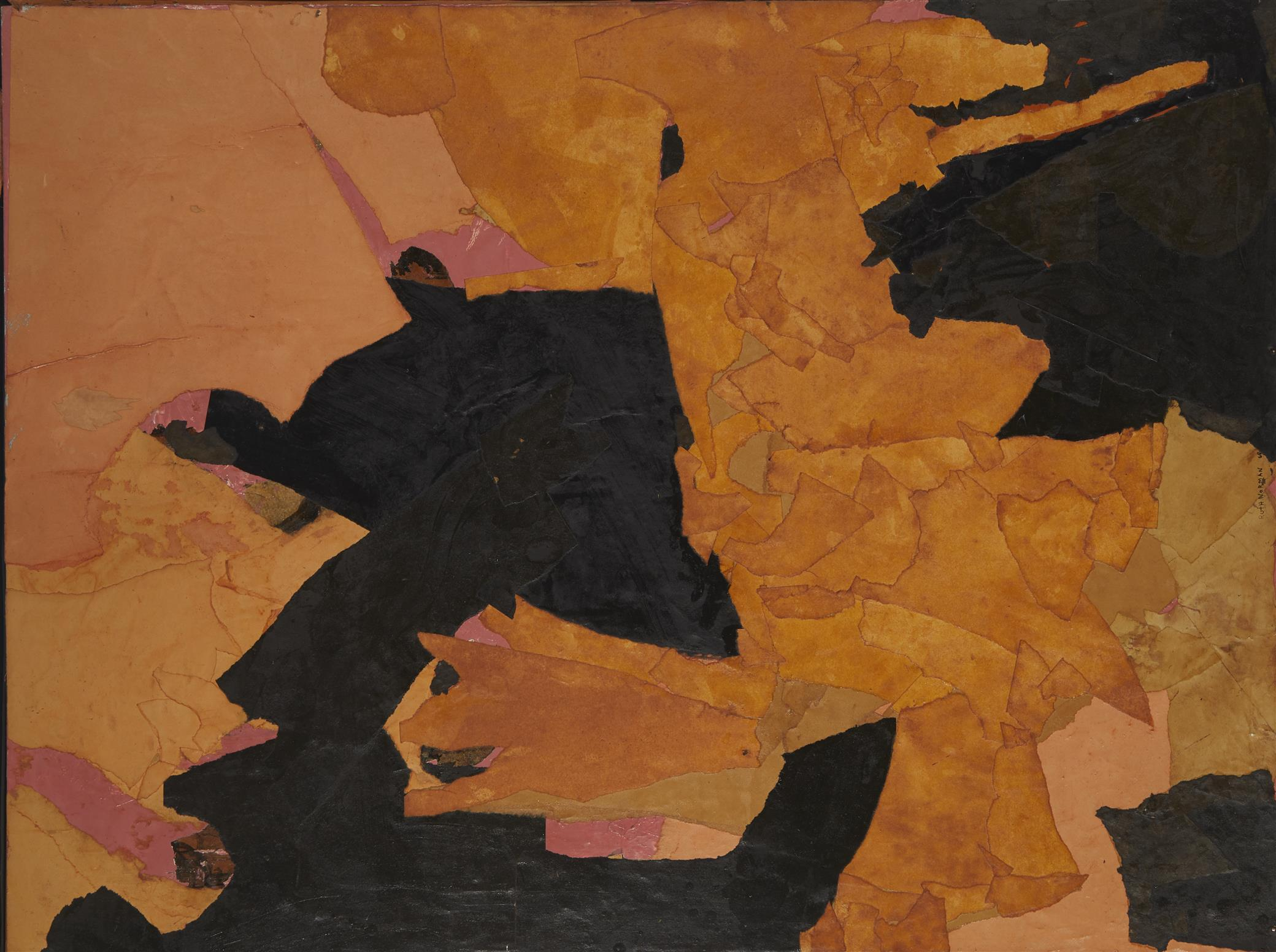 "Ruth Norman, (1909-2010, American), Untitled Orange/Black, 1968, Collage on masonite, 30"" H x 40"" W"