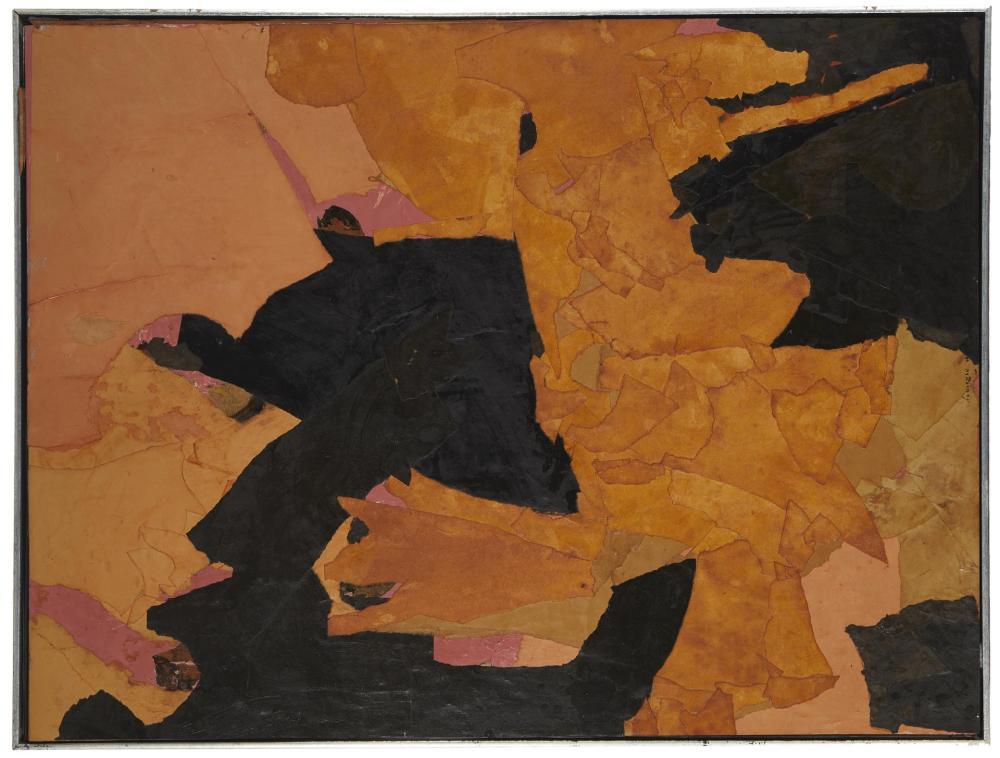 Ruth Norman, (1909-2010, American), Untitled Orange/Black, 1968, Collage on masonite, 30